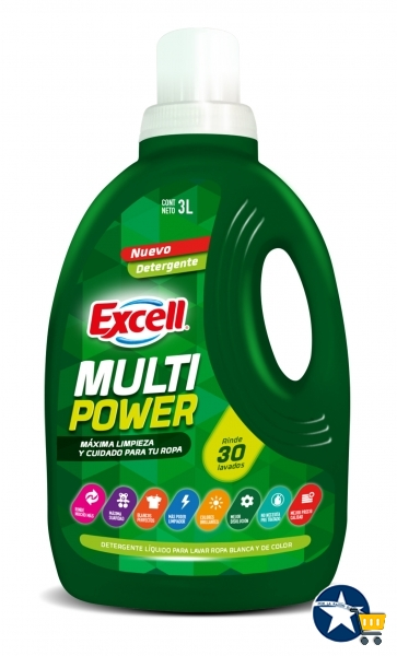 Detergente liquido multipower 3L EXCELL por mayor
